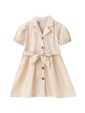 Cream Belted Shirt Dress