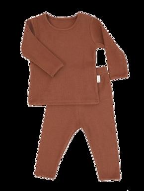 Luxury Children's Caramel Ribbed Loungewear