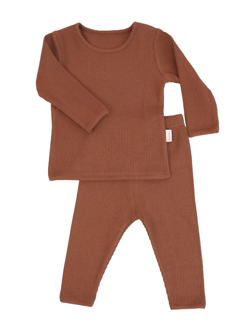 Luxury Children's Caramel Ribbed Loungewear