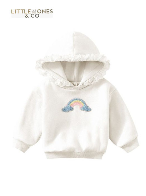 'Beatrice' Frill Hoodie with embroidered rainbow