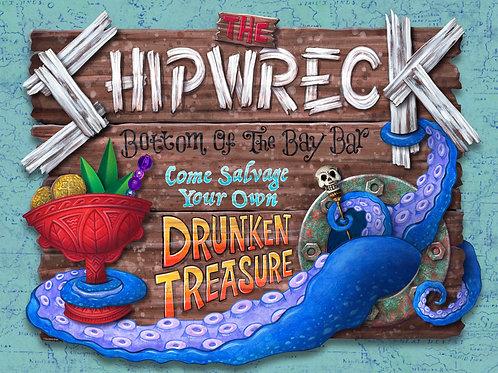 """The Shipwreck"" Laser-Cut Wood Tiki Sign"