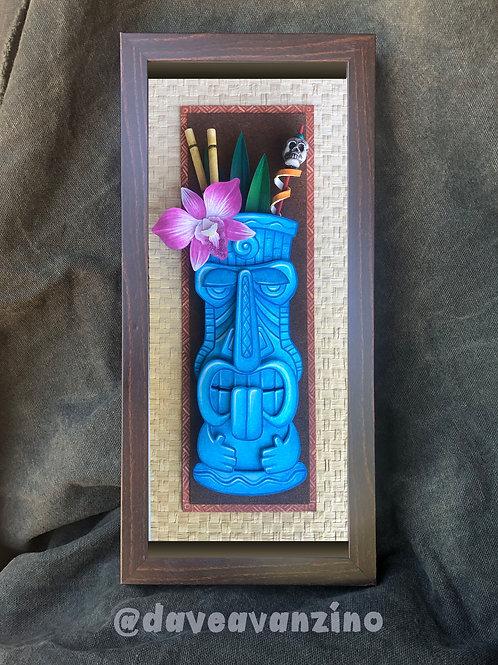Hand-Painted Tiki Mug Mixed Media Paper Sculpture 2