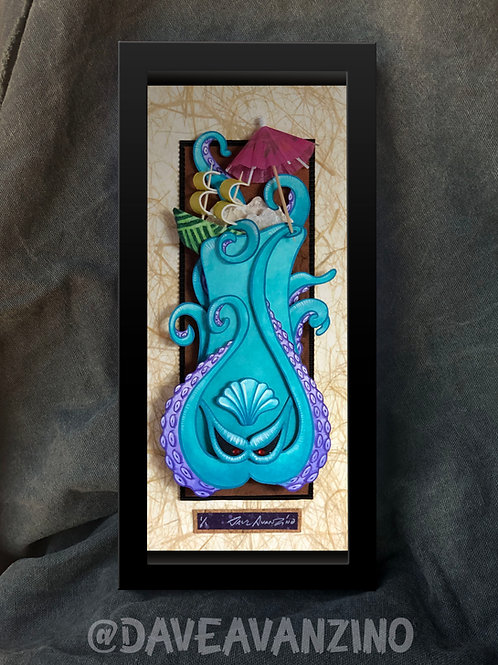 """The Kraken"" Aqua Mixed Media Paper Sculpture"