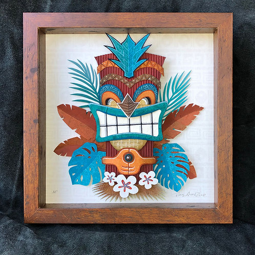 Paper Tiki Teal and Red Front View