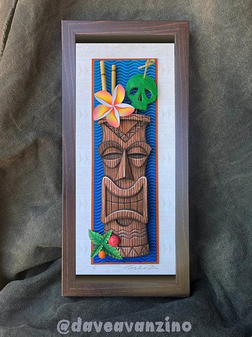 Hand-Painted Tiki Mug Mixed Media Paper Sculpture