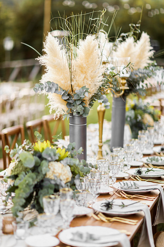 Wedding table set up in boho style with