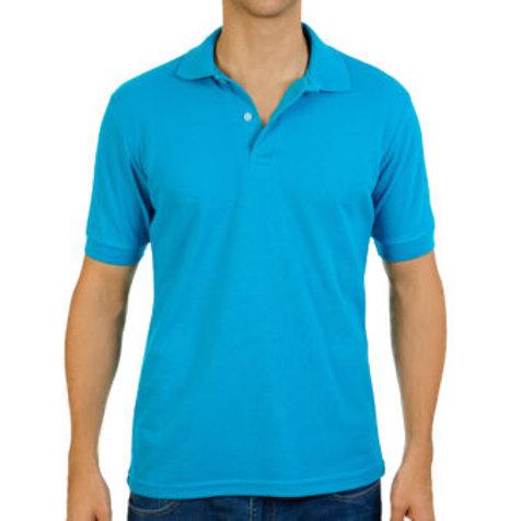Camiseta Tipo Polo de Hombre Azul Turquesa