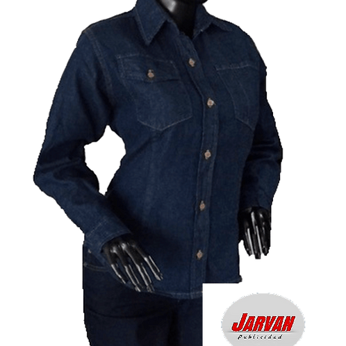 Camisa Twill Jean Dama Manga