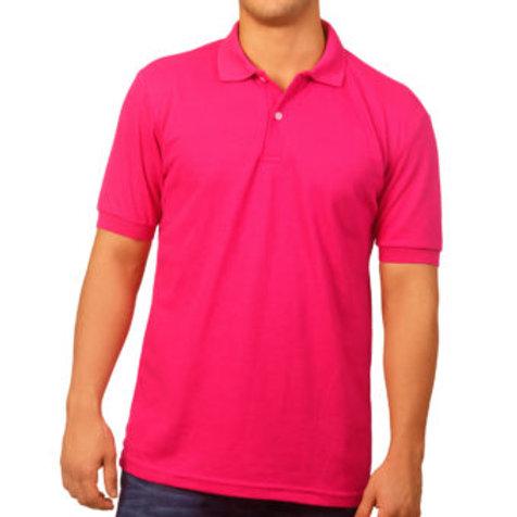 Camiseta Tipo Polo de Hombre Fucsia