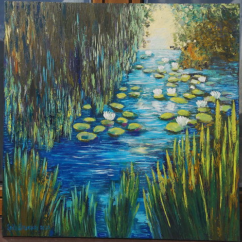 """""""Water lilies, rushes and willow trees """" 2020 Anita Domeracka"""