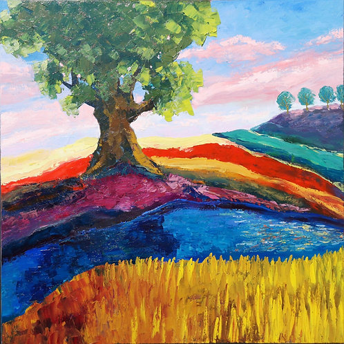 """Rainbow landscape with oak"" 2020 Anita Domeracka"