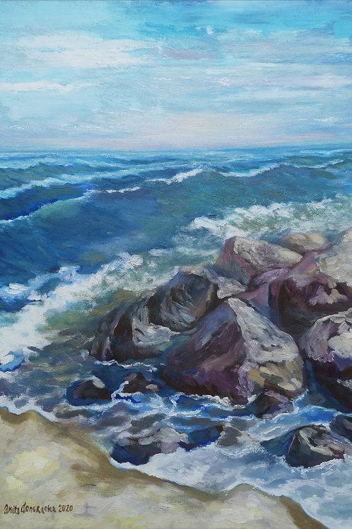 """Boulders in the sea  "" 2020 Anita Domeracka"