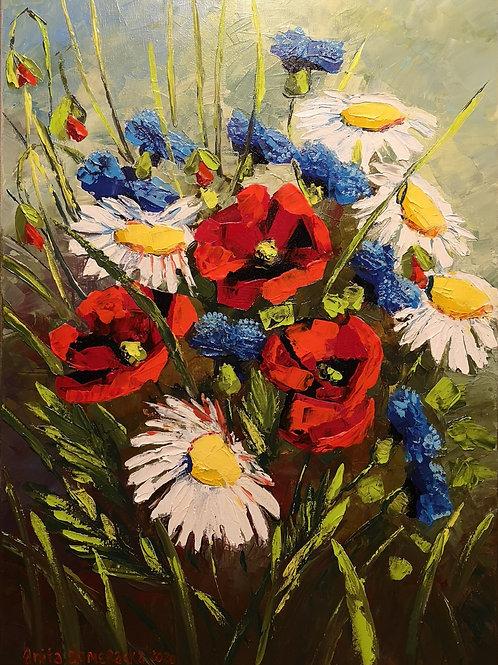 """Field flowers 1"" 2020 Anita Domeracka"