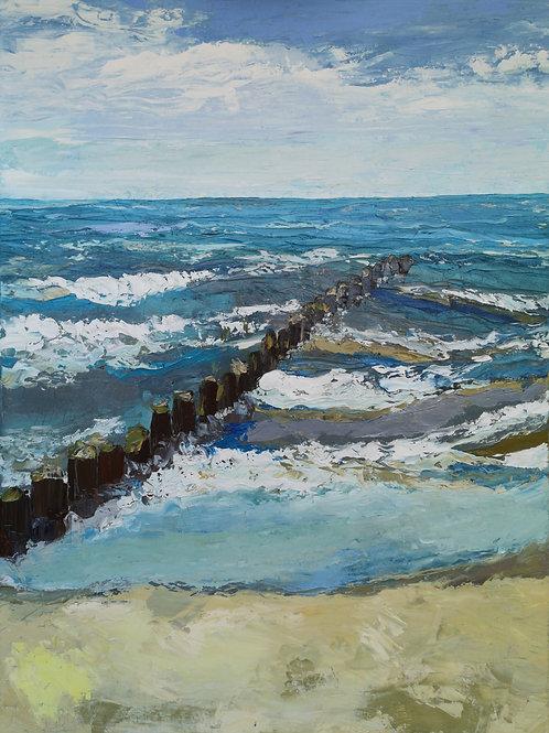 """Sea with a breakwater "" 2020 Anita Domeracka"