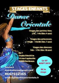 Stage enfant danse orientale bordeaux