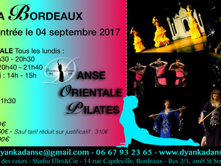 Les cours de Pilates et de danse orientale en septembre à Bordeaux !