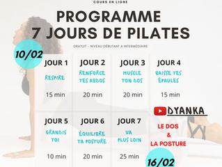 Programme 7 jours de Pilates (gratuit)