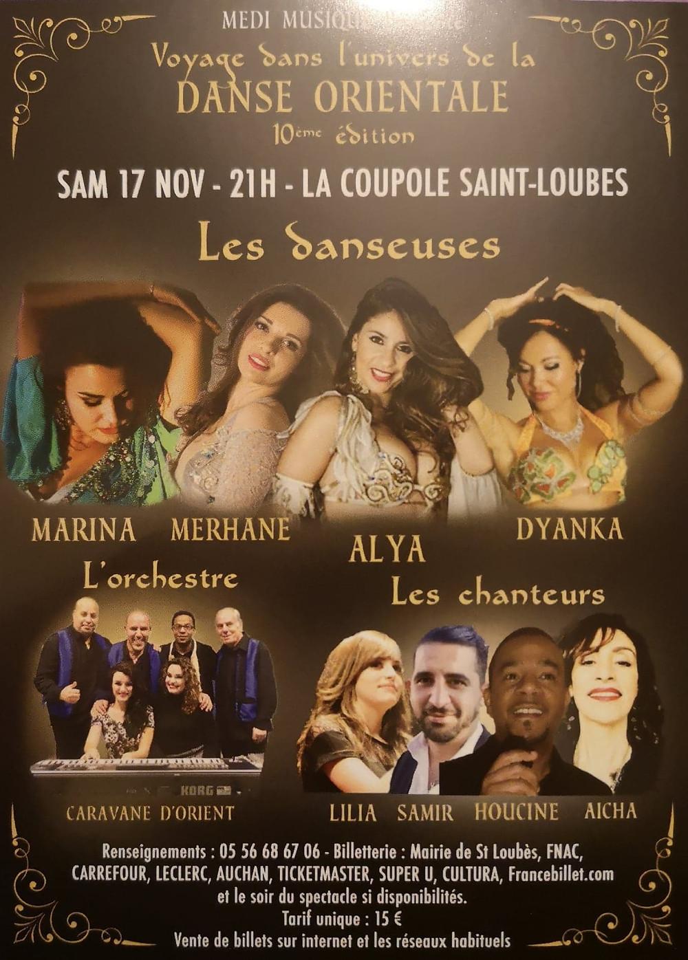 Affiche du spectacle de danse orientale à St Loubès