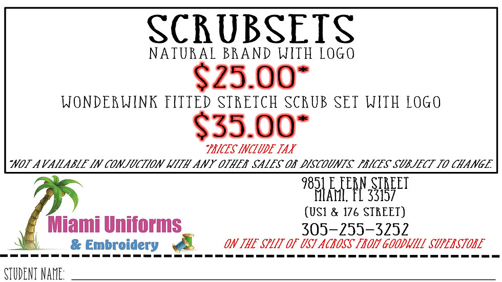 Southridge Health Science Scrub Sets