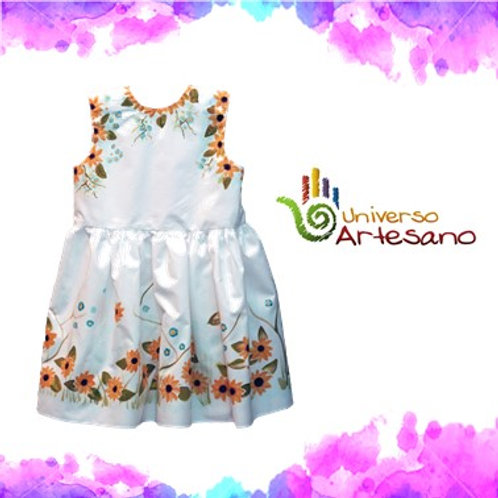 Hand-painted dress, luxury dress for girl