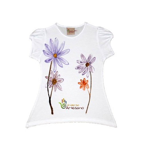 Girl T-shirt, pima cotton, hand painted | Universo Artesano | Peru