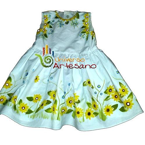 Girl dress, pima cotton, hand painted | Universo Artesano | Peru