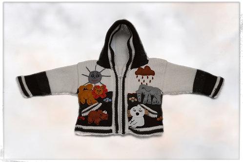 Cardigan for kid, hand made, arpillada technique
