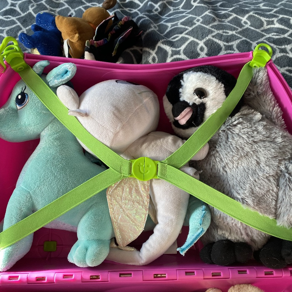 Stuffed animals in Child's Trunki Suitcase