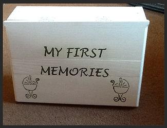 Hand stencilled christening memory box