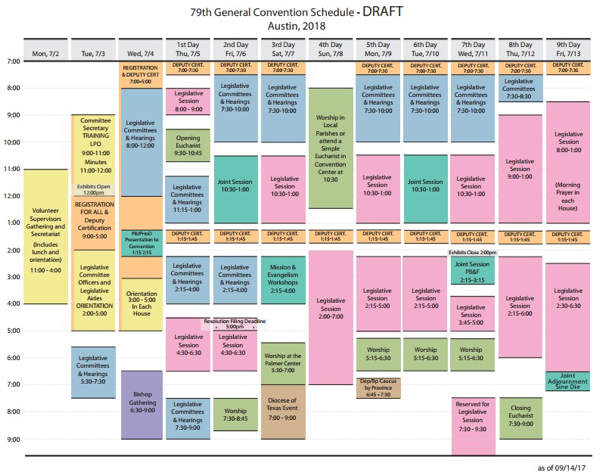 79th General Convention Schedule Draft