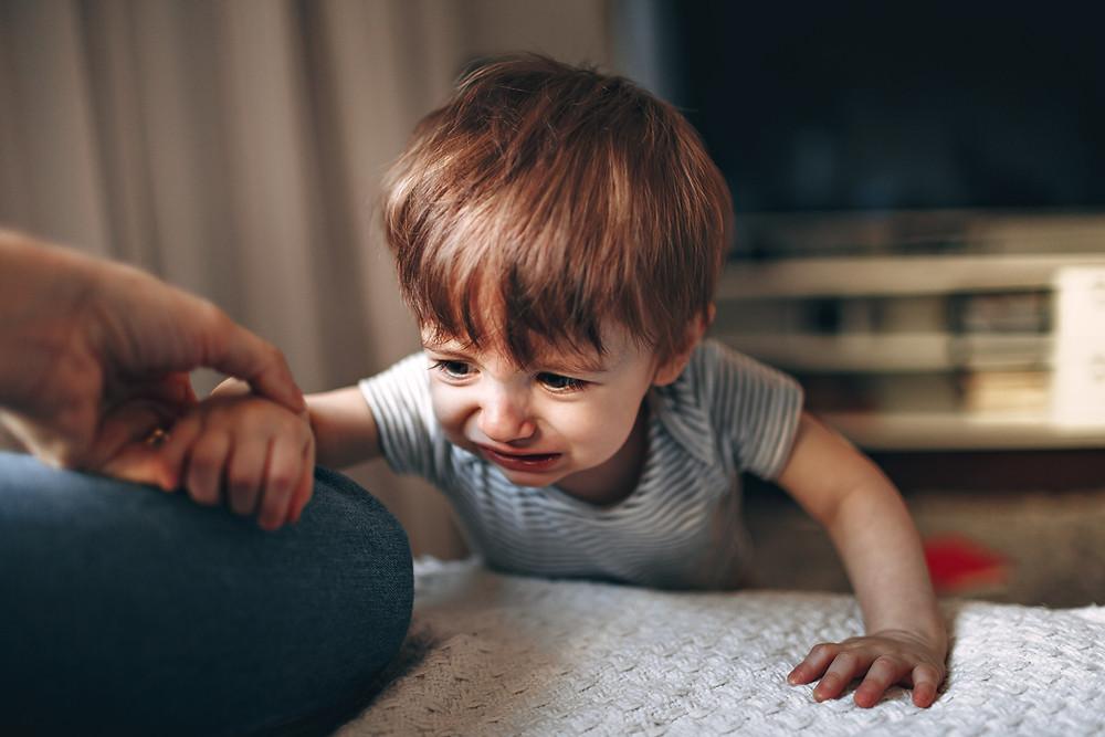 Baby boy upset