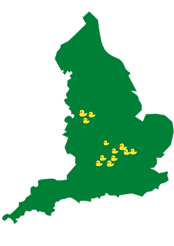 Map outline of all Ducklings Centres in England.