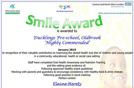 oldbrook smile award certificate