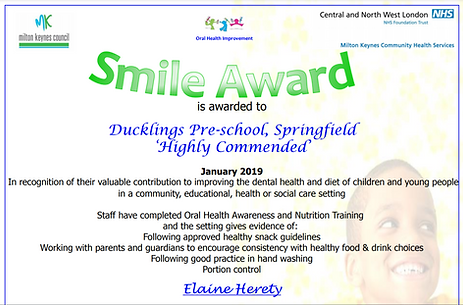 springfield smile award  certificate