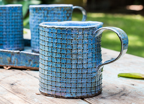 Set of four - Criss Cross Textured Mug with platter