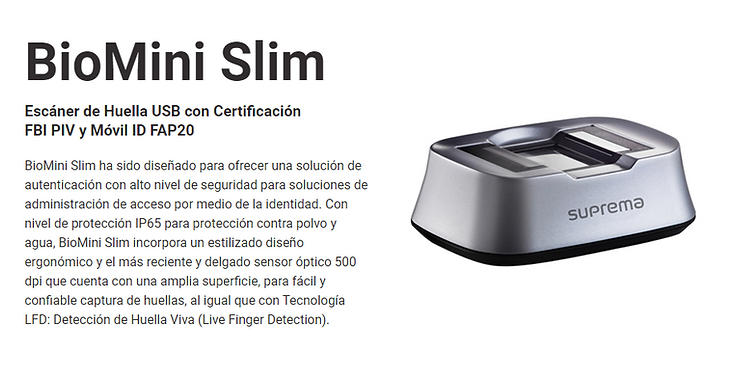 Dydex-HS,Biometría,Suprema,Colombia,Biometrics,Biometria,Fingerprint Reader