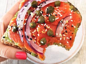 Smoked Salmon and Guacamole Open-Face Sandwich