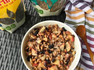 Warm Apple Wheat Berry Breakfast Bowl