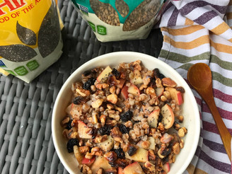 Warm Apple Wheat Berry Breakfast Bowl