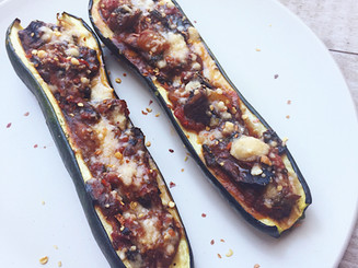 Vegetarian Mushroom Marinara Zucchini Boats