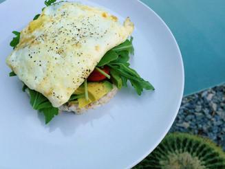Open-Faced Breakfast Sandwich on Rice Cake