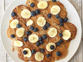 Protein Pancakes with a Peanut Butter Maple Sauce
