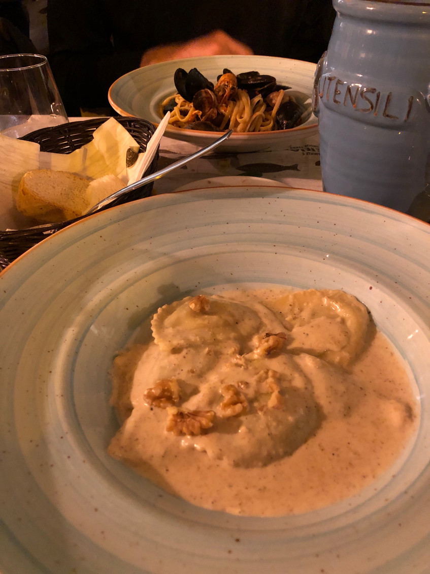 L'Osteria: ravioli with a walnut sauce