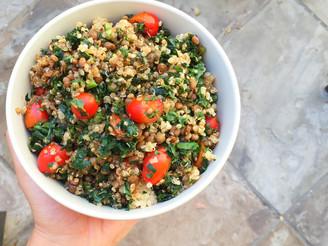 Lentil, Quinoa & Kale Salad with Garlic Balsamic Sauce