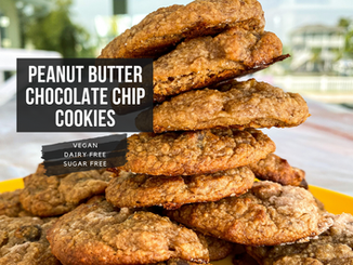 Salted Peanut Butter Banana Chocolate Chip Cookies (sugar free)