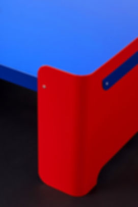 large colorblock design coffee table recycled aluminum sheets by Marina Daguet Nathan Baraness Episode studio