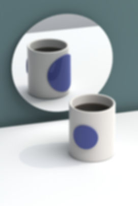 small ceramic coffee cup with textured colored double wall by Marina Daguet Nathan Baraness Episode studio