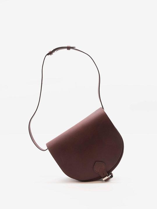 Taquet design petit sac à main besace pour femme cuir marron par Groom Studios
