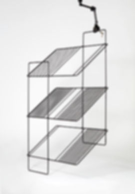 lightweight folding shelf black graphic design wire metal structure wooden tray Marina Daguet Nathan Baraness Episode studio