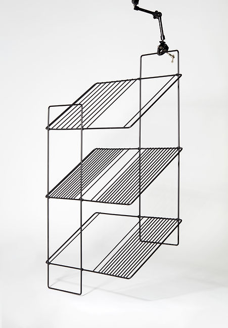 lightweight folding shelf black graphic design wire metal structure wooden tray Marina Daguet Nathan Baraness Episode studio